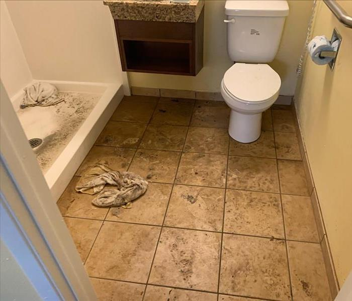 bathroom with tan tile floor and white shower and toilet with sewage covering the floor